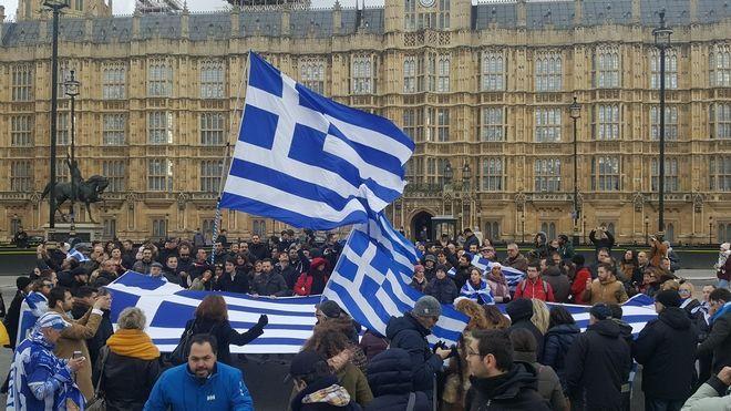 Οι Έλληνες του Λονδίνου διαδήλωσαν για τη Μακεδονία